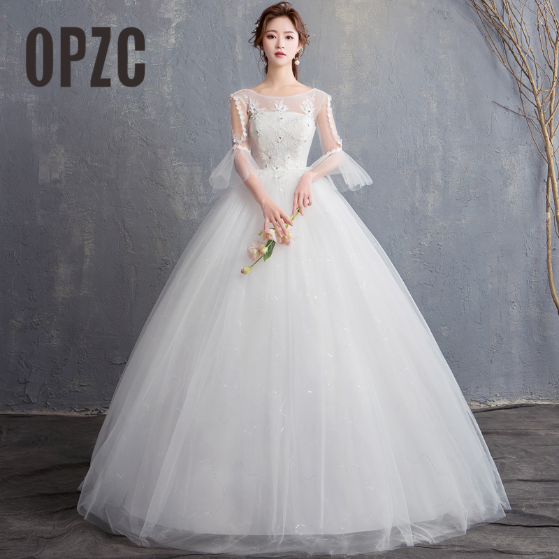 Simple Wedding Dresses Vogue: New Fashion Simple Korean Lace Appliques Ball Gown Cheap