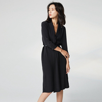 100% Silk Dress Women Elegant Style V Neck Three Quarter Sleeve Covered Button Sashes Solid Grade Fabric Autumn New Fashion 2018