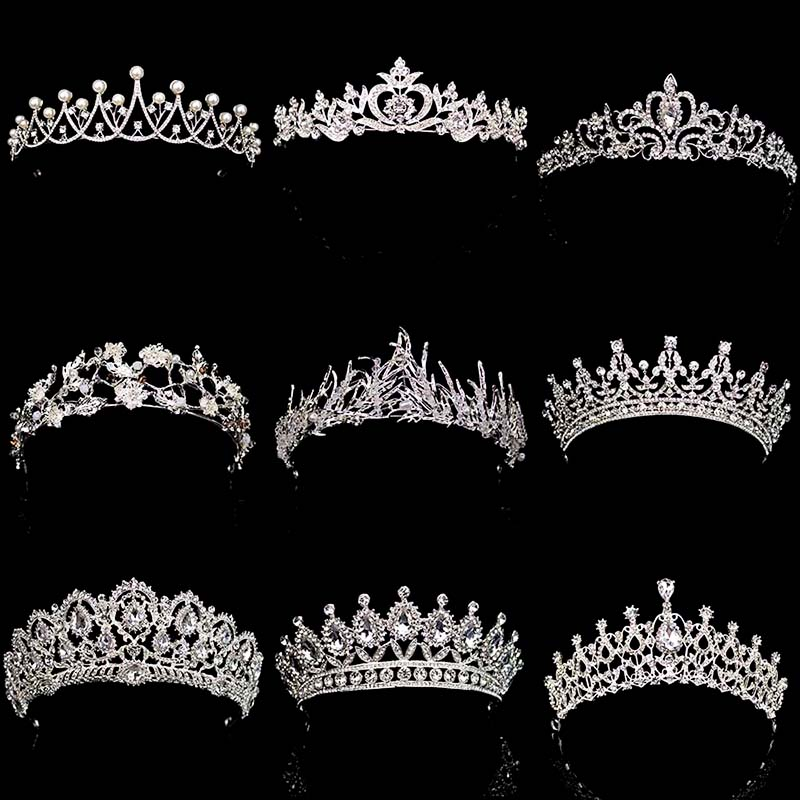 New Diverse Silver Crystal Bride Crowns Fashion Pearl Queen Wedding Headdress Headpiece Wedding Hair Jewelry hiar Accessories