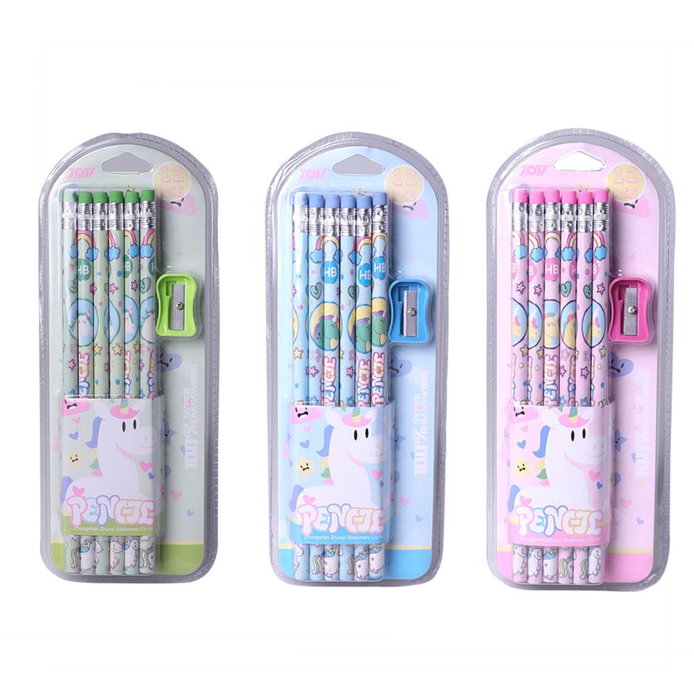TOPSTHINK 12pcs/set Cute unicorn HB pencil school stationery set with sharpener