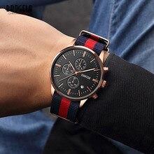 BAOGELA повседневные кварцевые часы с хронографом для мужчин Мужская мода аналоговые наручные часы холст нейлоновый ремешок светящиеся стрелки 1611LHL-MH