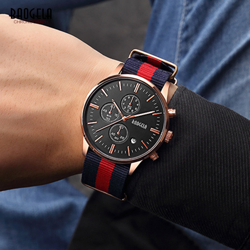 BAOGELA Casual Chronograph Quartz Watches for Men Man's Fashion Analogue Wristwatch Canvas Nylon Strap Luminous Hands 1611LHL MH