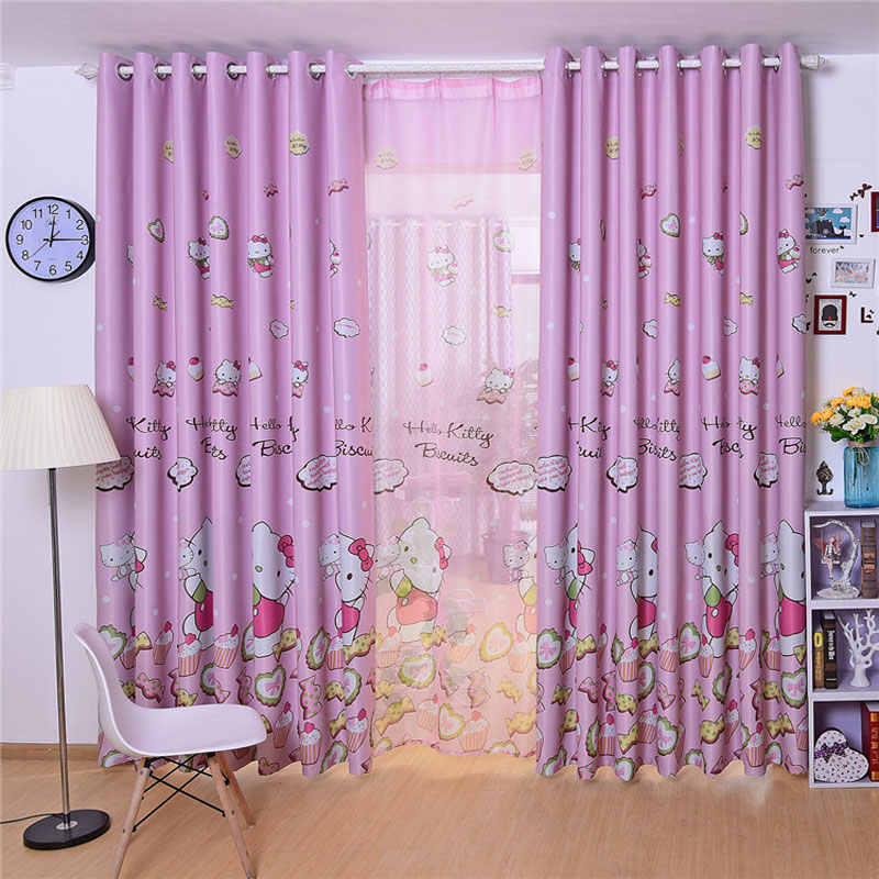 Cute Hello Kitty Cartoon Pink Print Curtains Children's Baby Room Children's Bedroom Living Room Curtains Curtains Panels Window