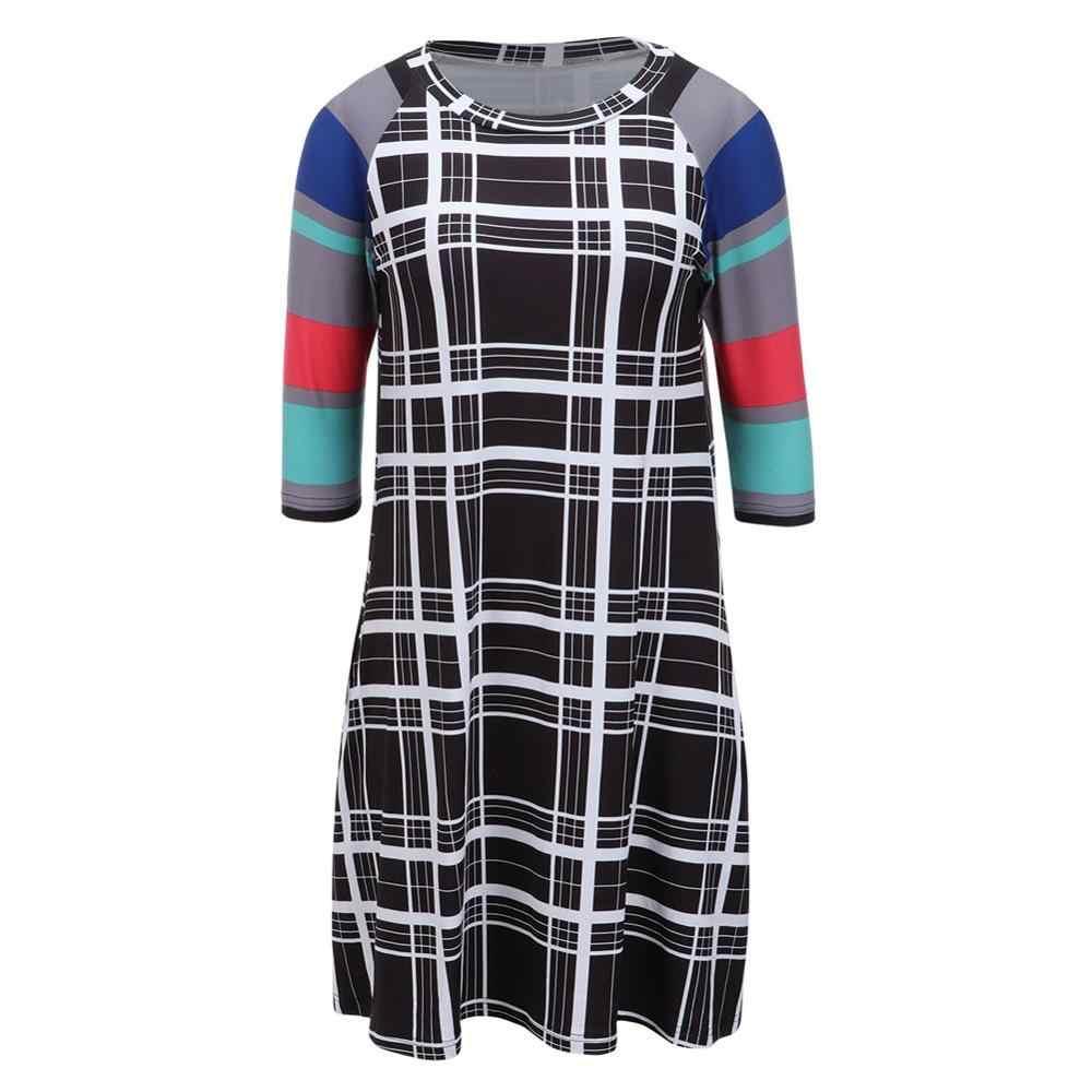 Seluxu 2019 женское платье с круглым вырезом рукав три четверти, мини-платье в полоску в стиле пэчворк мини платье с карманом Платье с принтом полоска платье в клетку