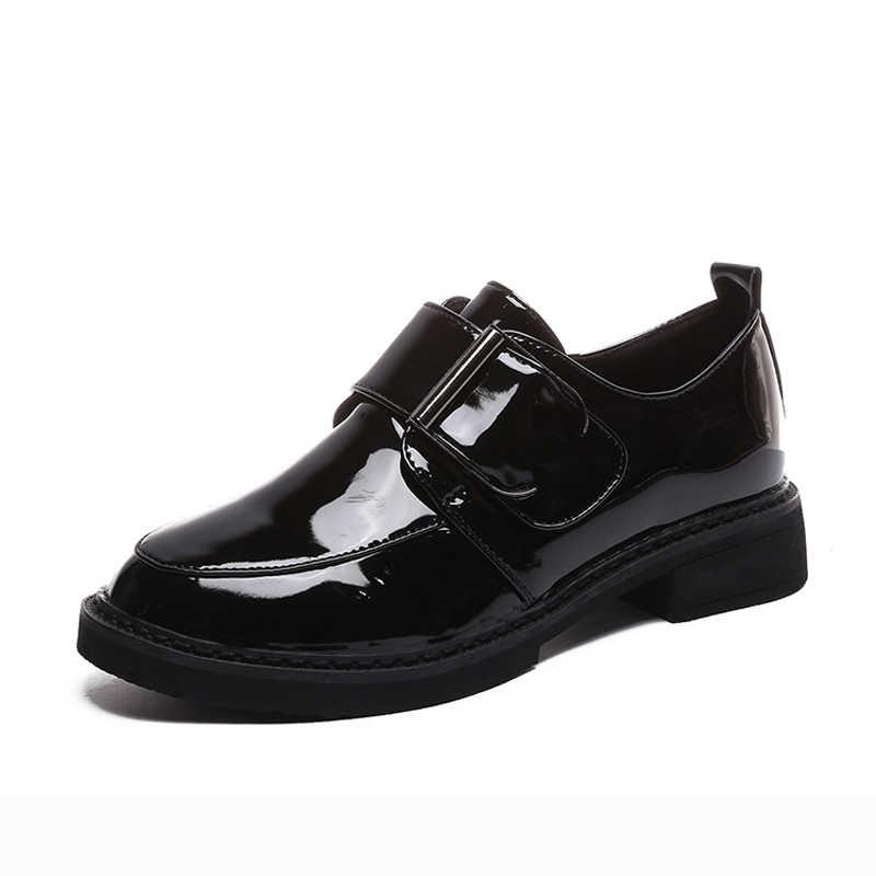 BeautyFeet Yeni Katı Rugan Bayan Ayakkabıları Kadın Oxford günlük ayakkabı Kadın Kare Düşük Topuklu Hoop ve Döngü rahat ayakkabılar