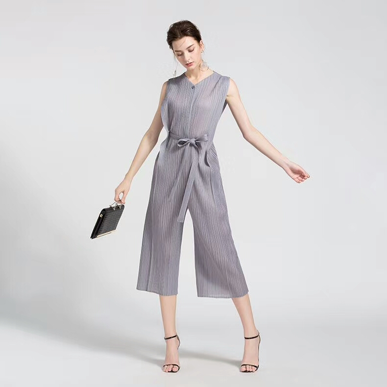 FREE SHIPPING Miyake fashion fold v-neck belt pants jumpsuits SASHES PLAYSUITS IN STOCK 1