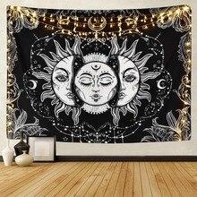 Белый, черный, солнце, луна, мандала, гобелен, настенный, небесный, настенный гобелен, хиппи, настенные ковры, домашний декор, психоделический гобелен