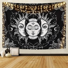 White Black Sun Moon Mandala Tapestry Wall Hanging Celestial Hippie Carpets Dorm Decor Bohemian Psychedelic