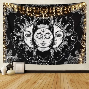 White Black Sun Moon Mandala Tapestry Wall Hanging Celestial Wall Tapestry Hippie Wall Carpets Dorm Decor Psychedelic Tapestry(China)