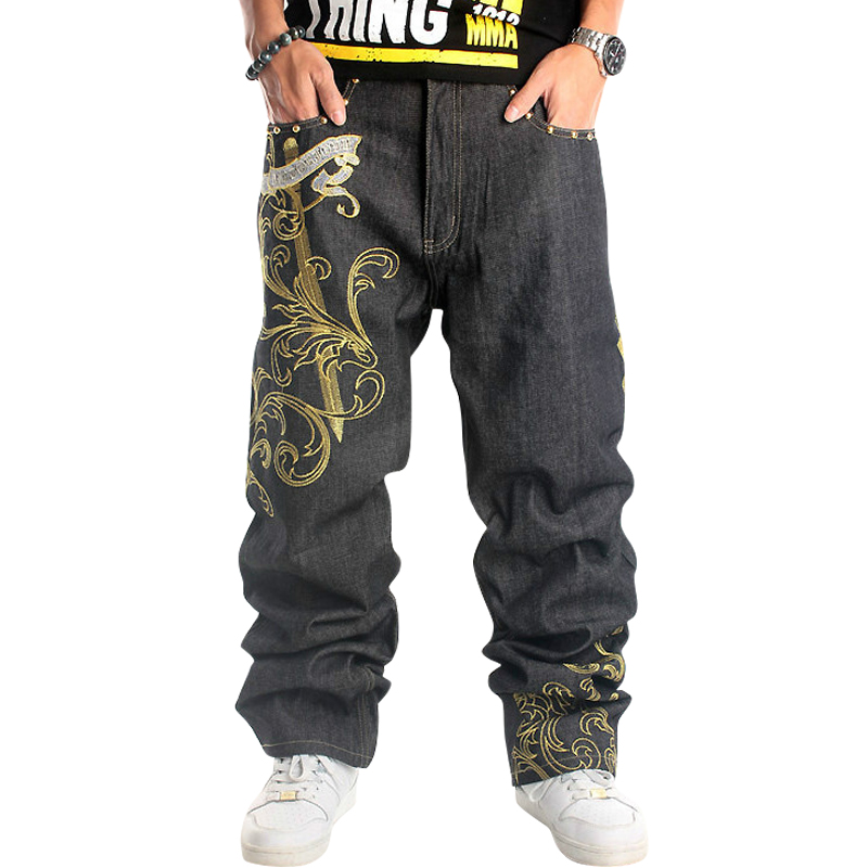 2017 Large Size Men's Hip-hop Jeans Fashion Chinese style Cotton Jeans Wide leg pants Size 30-46 hot new large size jeans fashion loose jeans hip hop casual jeans wide leg jeans