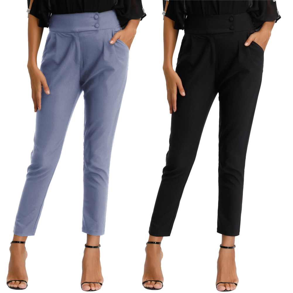 Grace Karin Fashion Women's High Waist Nine   Pants   Office   Capri   Cropped   Pants   With Side Pockets Button Lady Solid Color   Pants