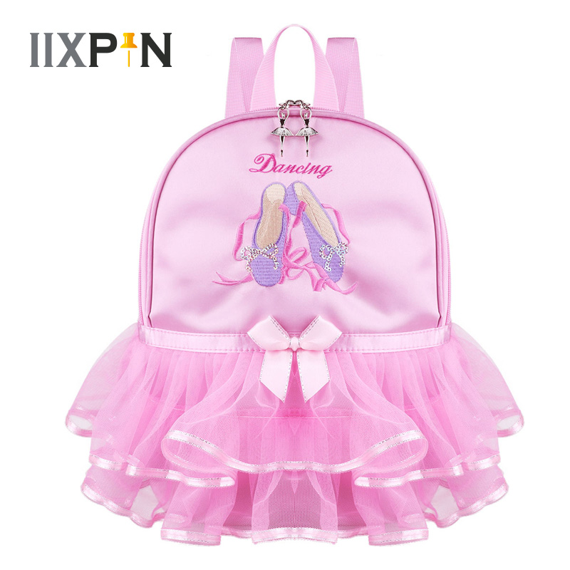 IIXPIN Pink Kids Girls Ballet Dance Bag Students School Backpack Toe Shoes Embroidered Tiered Ruffled Tutu Shoulder Bag Dance