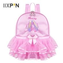 IIXPIN sac de danse rose pour enfants, sac à dos pour la danse pour filles, chaussures décole, bout à bout brodé à volants, sac à bandoulière de danse pour élèves