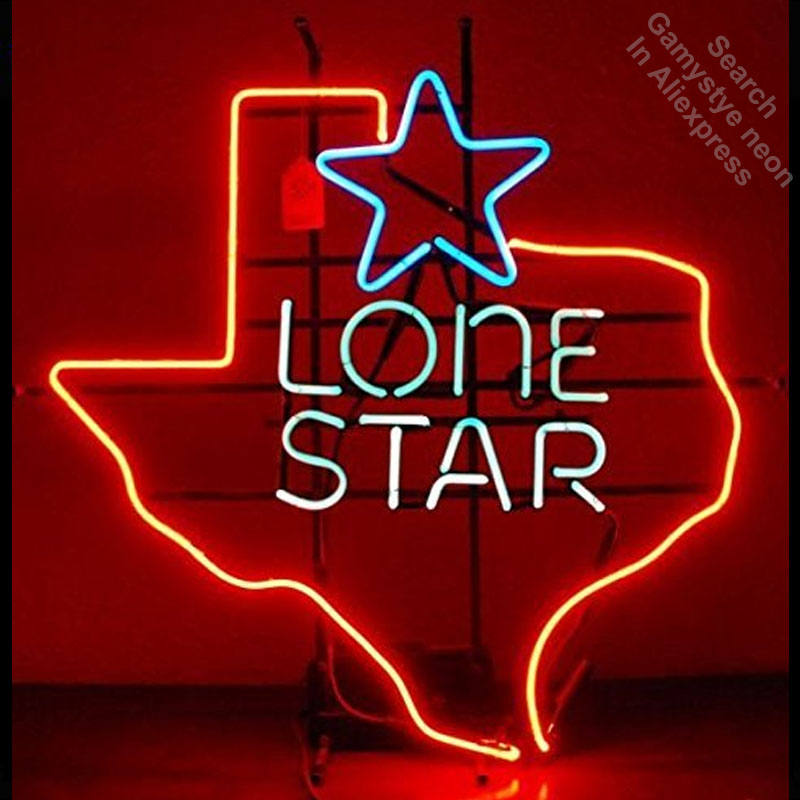 Neon Sign for Lone Star Custom Neon Bulbs sign Lamps handcraft Glass tubes Decorate Beer Wall Room signs made to order