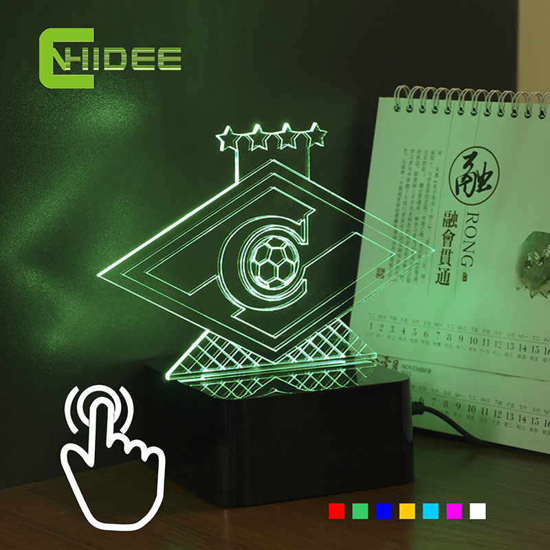 CNHIDEE Novelty USB Lampe 3D RGB Veilleuse pour La Russie Spartak Football Club LED Light Touch comme Éclairage à La Maison Futbol Lampe
