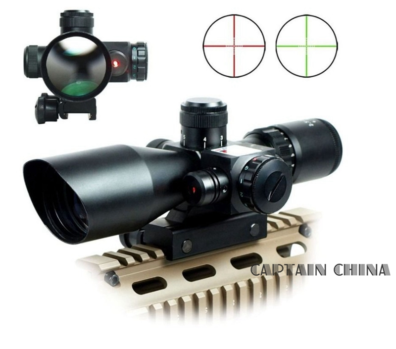 2.5-10x40 Tactical Rifle Scope with Red Laser Dual illuminated Mil-dot w/ Rail Mount 11mm / 20mm цена