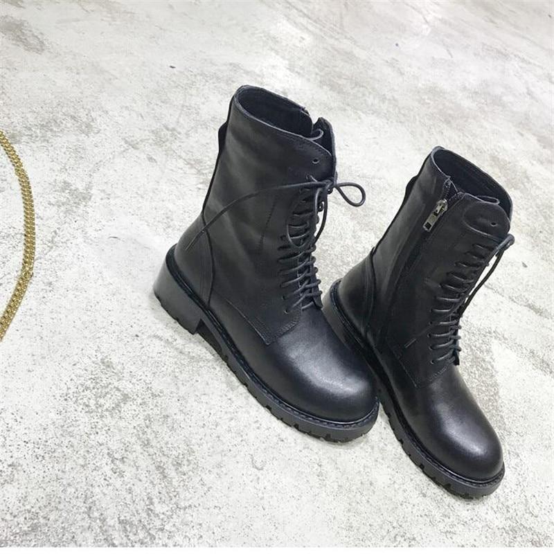 Genuino Zapatos Nueva De Bajos Redonda Martin La Cremallera Plaza Botas Negro Mujeres Con Sexy Black Mujer Moda Cuero Tacones Punta Las BqET4xE