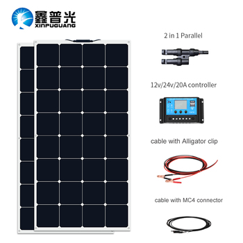 XINPUGUANG 200W Flexible Solar Panel Cell Module Solpanel System RV/Car/Marine/Boat/Home Use Panneau solaire 100w 12v or 24v