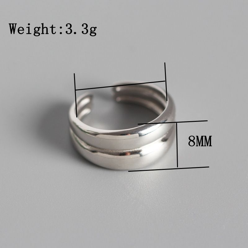 Silvology 925 Sterling Silver Double Layer Glossy Open Rings Creative Industrial Wind Elegant Rings For Women Fine Jewelry Gift in Rings from Jewelry Accessories