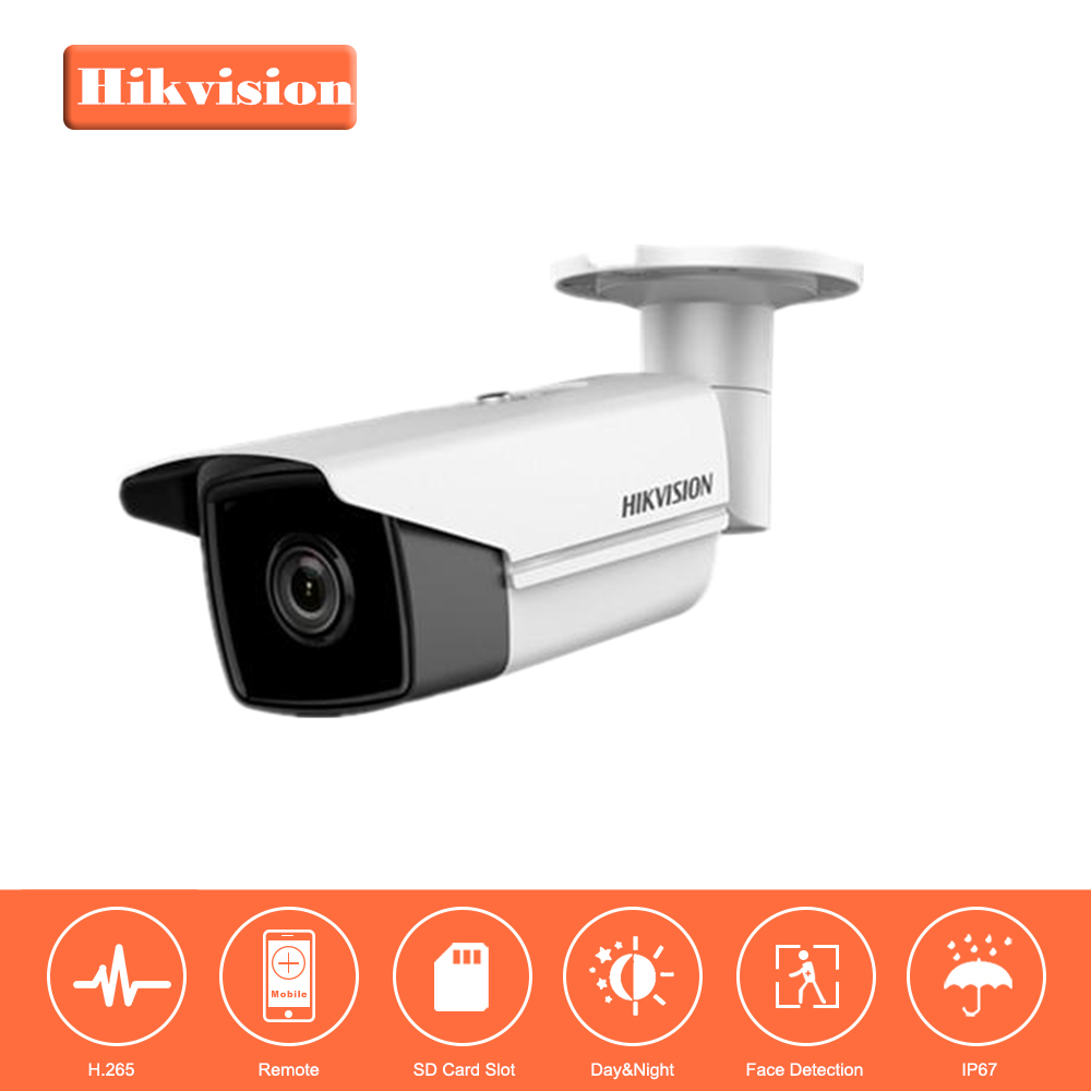 цены In Stock Hikvision H.265 Bullet Camera DS-2CD2T85FWD-I8 8 Megapixel Network Security IP Camera PoE Built-in SD Card Slot