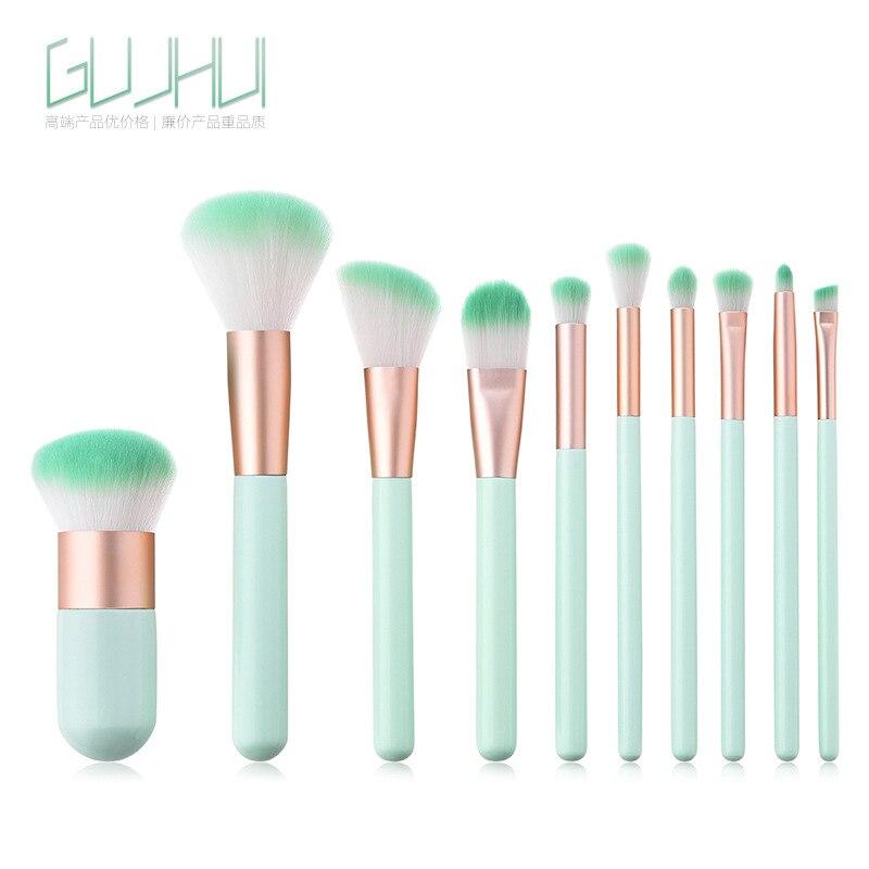 10 шт. макияж кисти Зеленая мята разбросаны порошок пухлые Pier высокого класса Красота макияж инструменты GUJHUI
