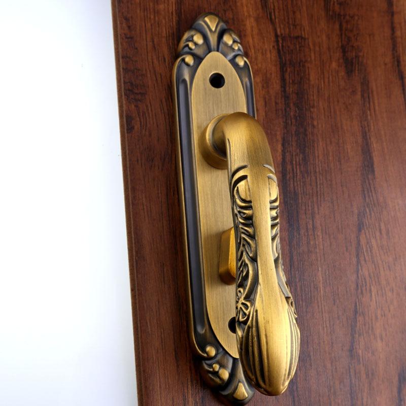 110мм ретро простой Ванная комната проходу деревянные двери ручка замок один язык номер может быть заблокирован без ключа желтый латунный замок