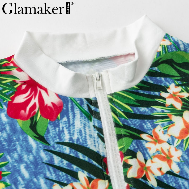 Glamaker Floral knitting women jumpsuit Sexy casual long sleeve sexy jumpsuit romper Female fitness bodycon playsuit overalls