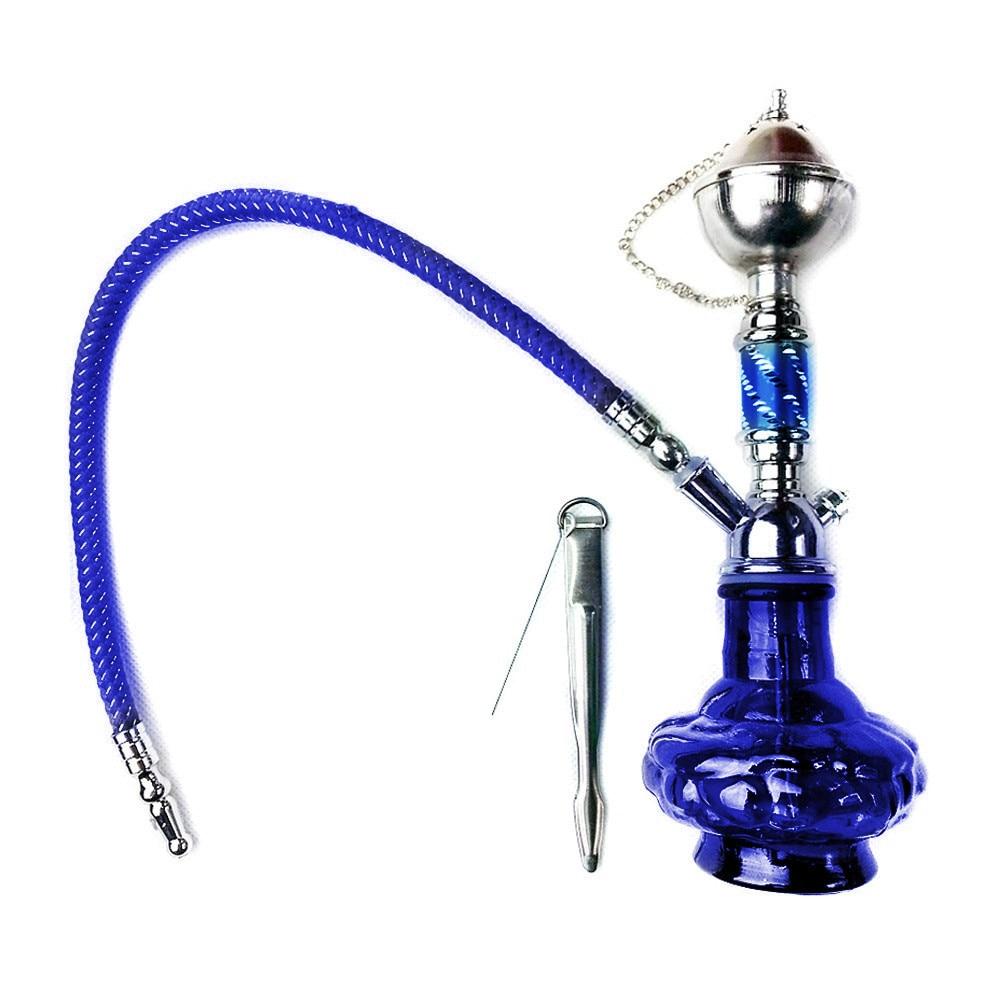 Silver + Blue Mini glass hookah Portable Shisha Water smoking Pipe hose - Enjoy Play store