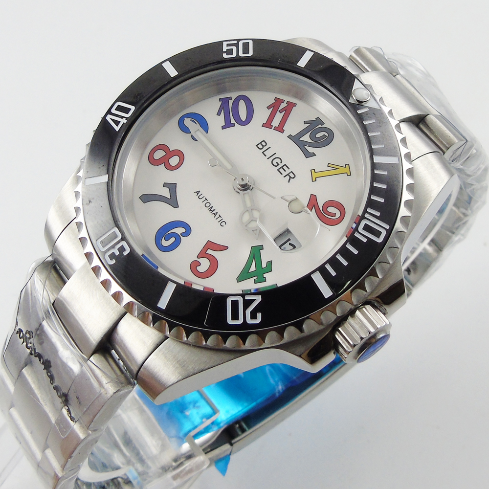 Bliger 40mm white dial date black Ceramics Bezel colorful marks saphire glass Automatic movement Men's watch bliger 40mm gray dial date blue ceramics bezel stainless steel case saphire glass automatic movement men s watch