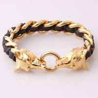 e67fe170a9e3 Men Bangle Men Bracelet Stainless Steel Cool Jewelry For Silver Or Gold  Wolf Head Black. Brazalete de hombre pulsera acero inoxidable joyería  fresca para ...