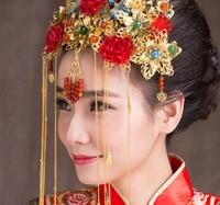 Chinese Traditional Bridal Headdress Ethnic Hair Jewelry Dragon And Phoenix Gown Headwear Wedding Coronet Frontlet Tassel