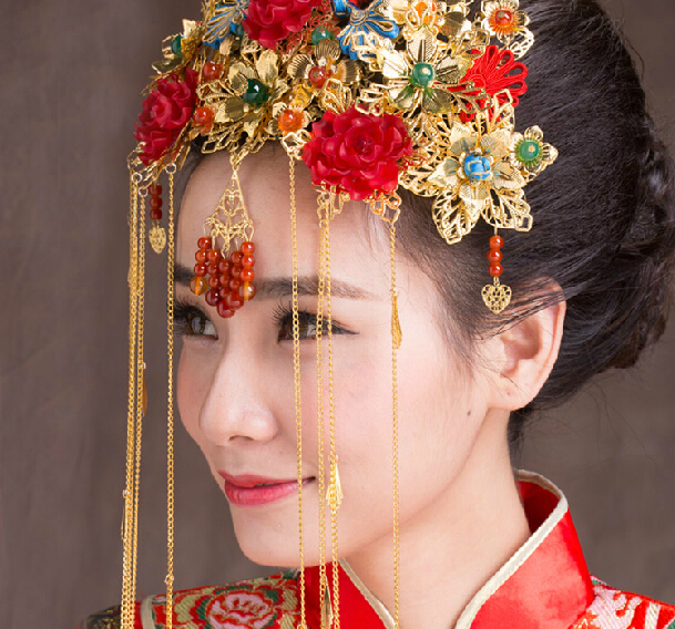 Chinese Traditional Bridal Headdress Ethnic Hair Jewelry Dragon and Phoenix  Gown Headwear Wedding Coronet Frontlet Tassel cd56a33b42a