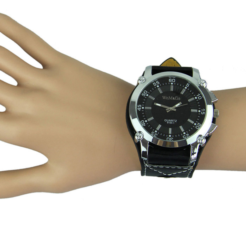 Relojes Mujer 2019 Fashion Leatheroid Band Big Dial Black Watch New Mens Quartz Fashion Sport Wrist Watch Women Men Casual Watch(China)