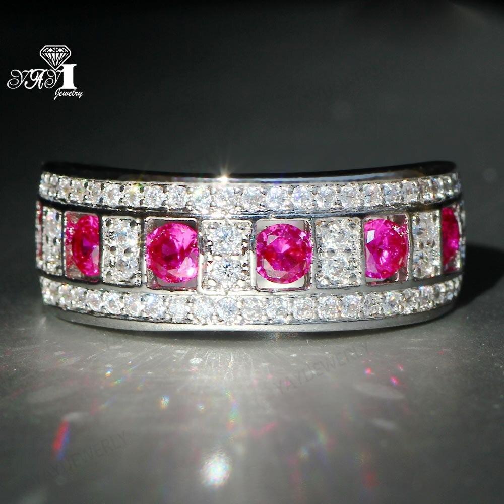 Hochzeits- & Verlobungs-schmuck Yayi Schmuck Prinzessin Cut 8,2 Ct Red Zirkon Silber Farbe Engagement Ringe Hochzeit Herz Ringe Mädchen Party Ring Geschenke 948