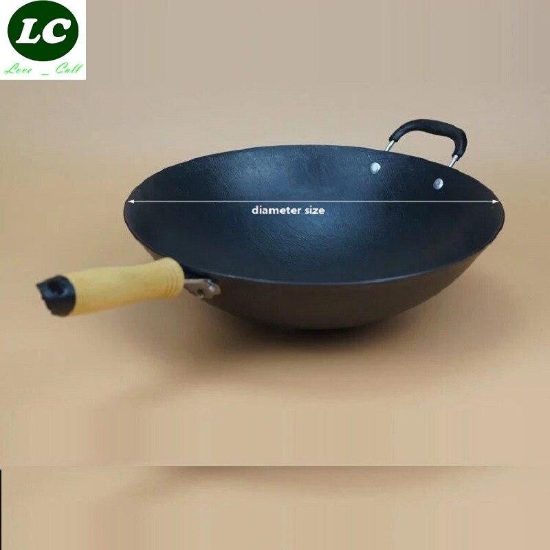 FREE SHIPPING CAST IRON <font><b>WOK</b></font> COOKING POT NO COATING NON-STICK ORIGINAL IRON PAN COOKING PAN