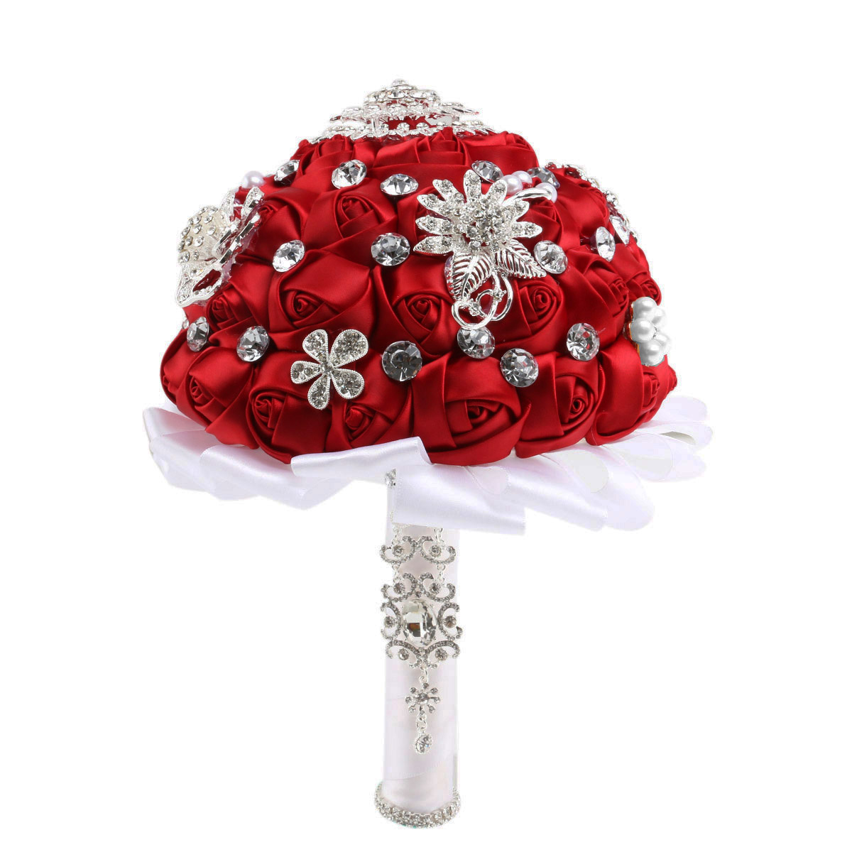 Handmade Crystal Pearl Rhinestone Decorated Bridal Hold Rose Flowers Wedding Bouquet Brooch (Red) charming crystal gold rose brooch