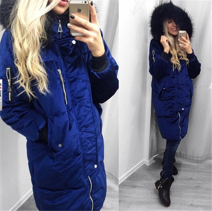 rose Vente À Limitée Large Temps Chaud gris Vêtements Le Longue Dans Femmes Manteau Solide Fermeture bleu Coton Directe Mode Royal Marron D'hiver Taille La Épaisse 2017 Éclair Femelle De 5Aq8nxwzFt