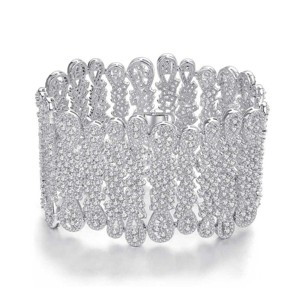 Bracelet large de mariage de mariée de luxe pour les femmes parti pavé Micro minuscule Zircon cubique Bijoux Vintage Bijoux cadeau
