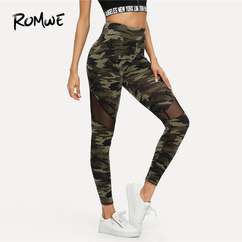 ROMWE Contrast Mesh Insert Camouflage Print   Leggings   2019 Fabulous Women Workout   Leggings   Chic Sportswear Skinning   Leggings