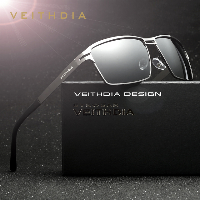 VEITHDIA 2020 גברים של משקפי שמש מקוטב UV400 עדשת שמש משקפיים מלבן נירוסטה משקפיים Eyewear אביזרי עבור גברים