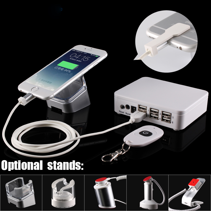 цена на 4,8 port mobile phone security display stand tablet burglar alarm cellphone charging anti-theft device with security box cables