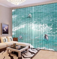 Fashion Customized 3D Curtain Waves Dolphins Curtain Bedroom Living Office Cortinas Blackout Bathroom Shower Curtain