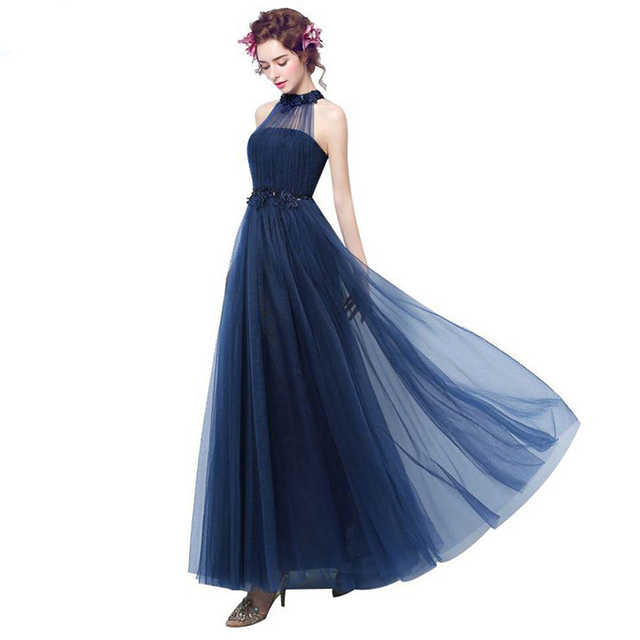 New Arrival Halter Party Dress Corset Sleeves Appliques Beaded Tulle Navy  Formal Dresses For Wedding Party