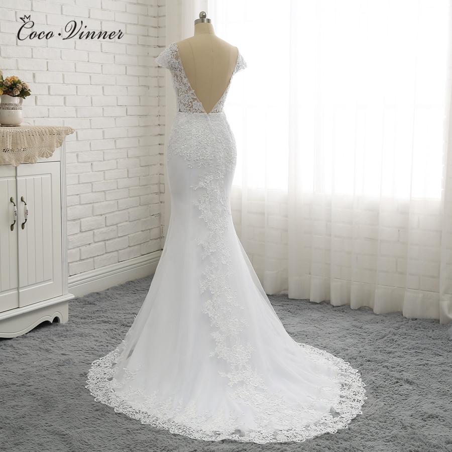 C.V White Backless Vintage Lace Mermaid Wedding Dresses 2018 V-Neck Short Sleeve Wedding Dress Vestido de noiva Robe de W0200
