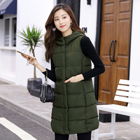 KUYOMENS Plus size Women Vest Winter Womens Clothing Long Section Cotton Hairball Jacket Fashion Women Keep Warm Hooded Vest