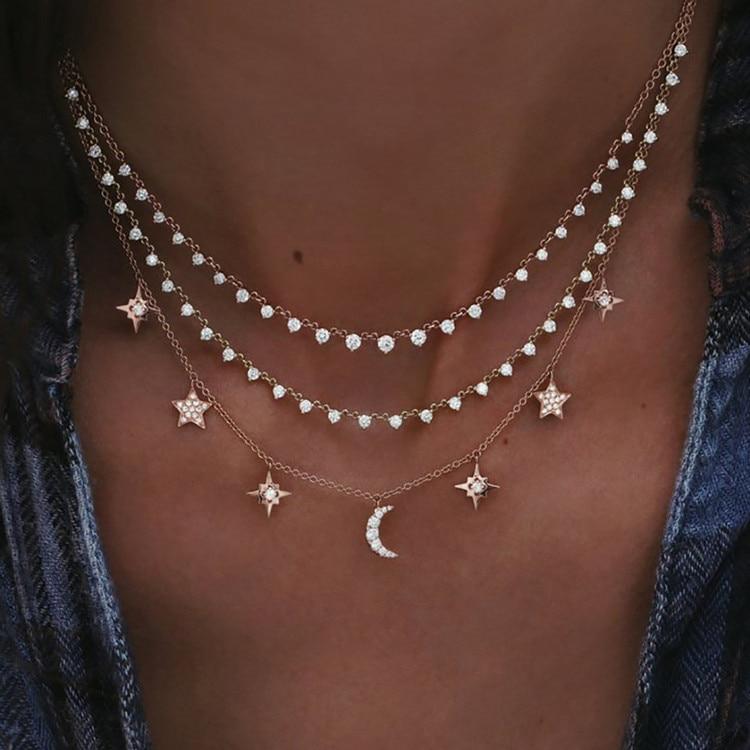 Богемное многослойное ожерелье с кулоном из кристаллов для женщин, золотые модные многослойные ожерелья и кулоны, ювелирные изделия - Окраска металла: NE-0205-4