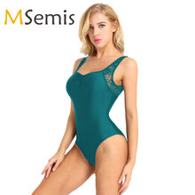 MSemis Ballet Leotards for Women Gym Dress Leotard Women Sleeveless Lace Low Back Bodysuit High Cut Ballerina Dress for Women(China)