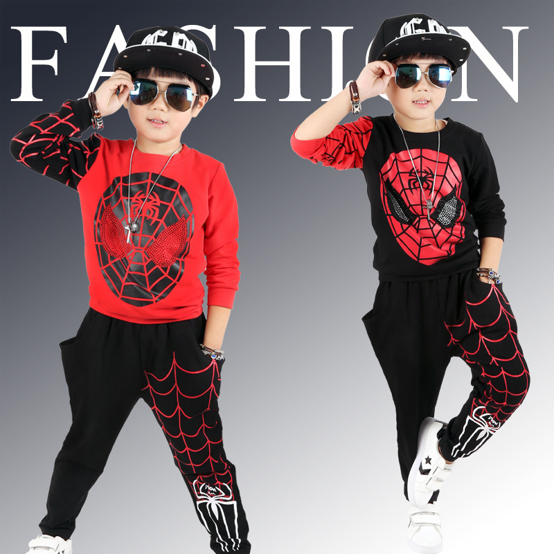 Magituby Fashion Boys Clothes Cotton Children Baby Clothing Sets Shirt and Pants Fire Print Kids Summer Hip Hop Sports C019