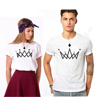 EnjoytheSpirit T Shirts For Couple KING AND QUEEN Crowns Printing Pattern White Tshirt Soft Cotton Funny