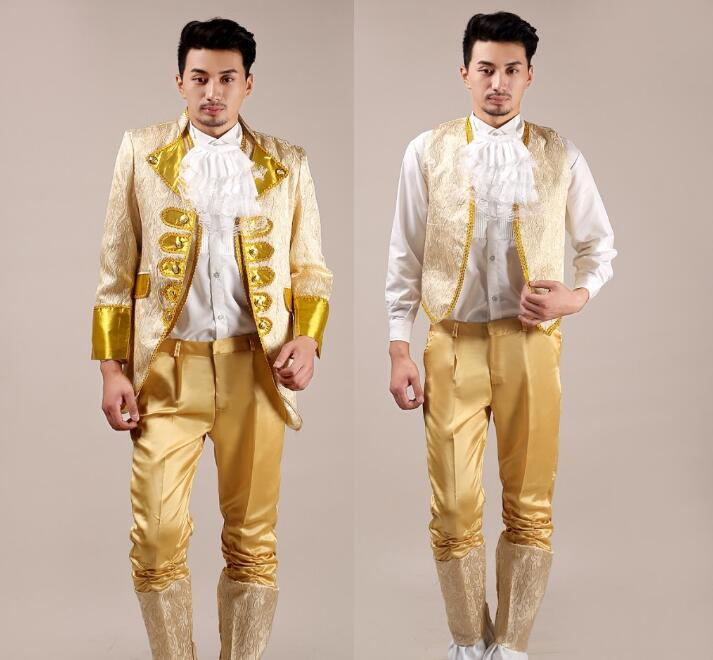 Europe chorus wedding suits for men blazer boys prom Royal Court suits mens fashion slim masculino latest coat pant designs gold